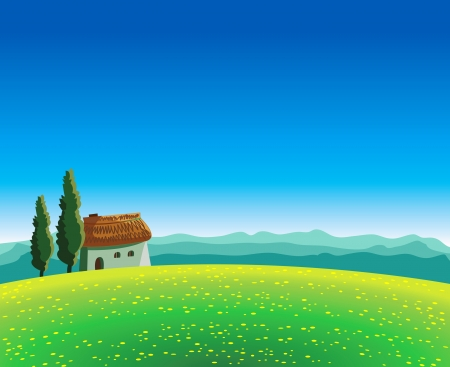 Green summer landscape with meadow, house and mountains on a blue sky Stock Vector - 13693410