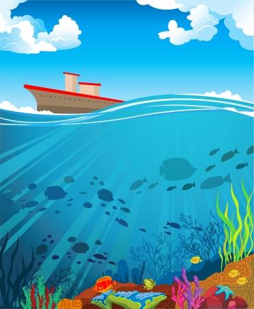 cartoon clouds: Arrecifes de coral de color con la escuela de la silueta de los peces y el barco en un despejado cielo azul Vectores