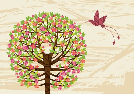 Spring green tree with pink flowers and flying hummingbird Vector