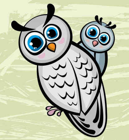 Funny cartoon bird family - mother owl and owlet Vector