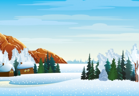 Winter landscape with houses, forest and mountains on a blue cloudy sky Vector