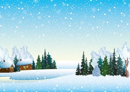 Paisaje de invierno con las casas, el bosque y lago congelado