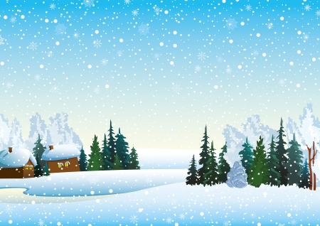 Winter landscape with houses, forest and frozen lake Illustration