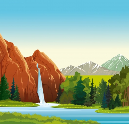 background waterfalls: Summer green landscape with beautiful waterfall, forest and mountains on a blue sky