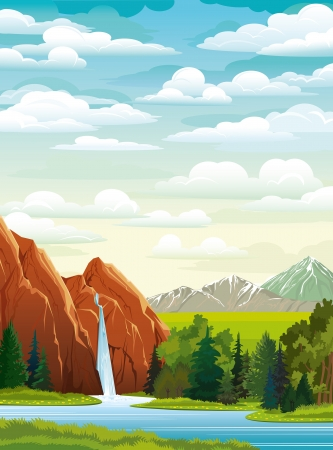 Summer green landscape with beautiful waterfall, forest and mountains on a cloudy sky Vector