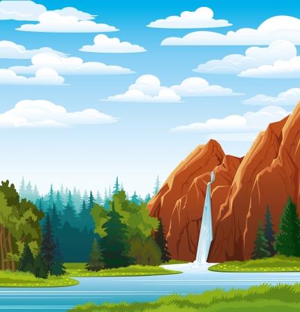 Verano verde paisaje con la hermosa cascada y el bosque en un cielo azul nublado
