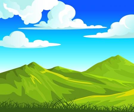 Paysage d'été avec de vertes collines et de l'herbe sur un ciel bleu nuageux Vecteurs