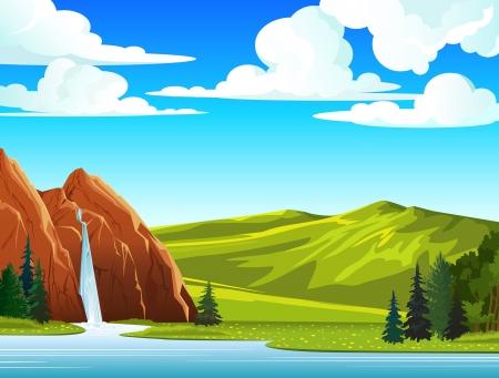 cascades: Zomer groen landschap met waterval en heuvels op een blauwe bewolkte hemel Stock Illustratie