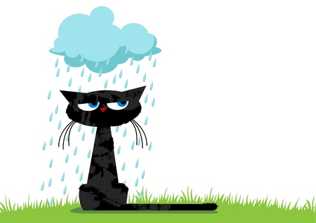 rain cartoon: Sitting black unhappy funny cat and blue rainy cloud