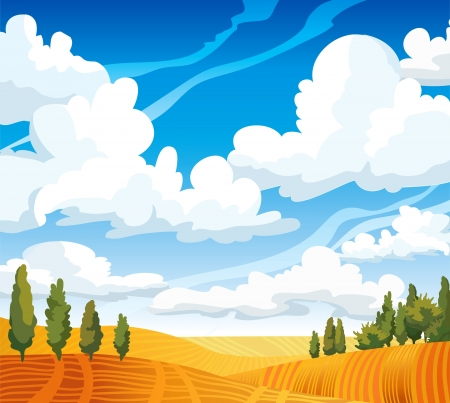 Autumn landscape with yellow meadow and green trees on a blue cloudy sky Vector