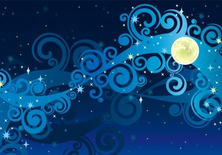 夜の青空の天の川星と黄色のムン  イラスト・ベクター素材