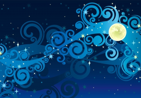 night blue sky with stars, yellow moon and milky way  Illustration