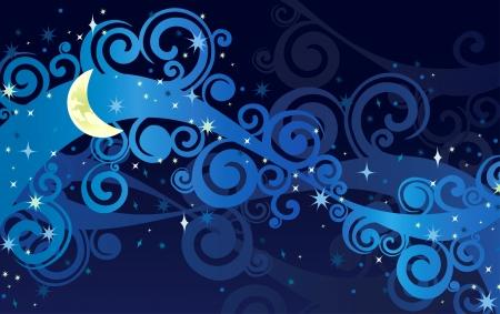 sterrenhemel: nacht sterrenhemel met gele maan en melkweg