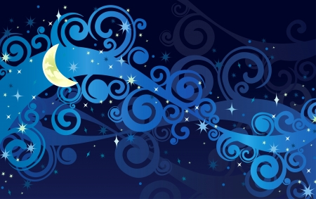 cielo estrellado: noche cielo estrellado con la luna amarilla y la vía láctea