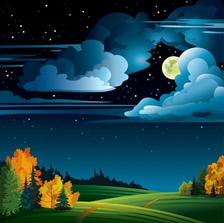 Otoño noche con luna llena amarilla y árboles en un cielo nublado estrellado