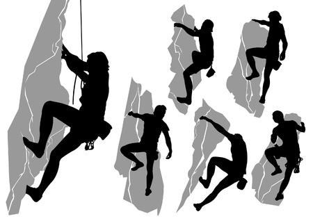 登る: 登山者のシルエットのコレクション  イラスト・ベクター素材