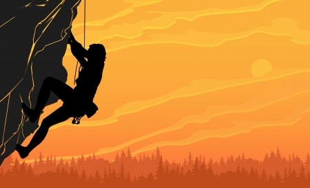 to climb: black silhouette of a rock climber on a sunset background Illustration