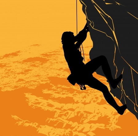 mountain climber: black silhouette of a rock climber on a sunset background Illustration