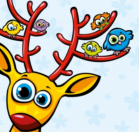 Funny yellow deer and sitting colored birds Vector
