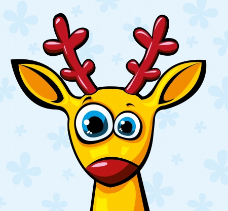 funny yellow deer with large red horns Vector
