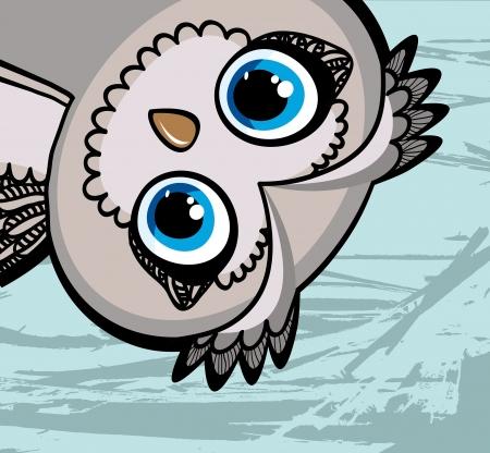 occhi grandi: Cartoon divertente gufo con gli occhi grandi su sfondo blu Vettoriali