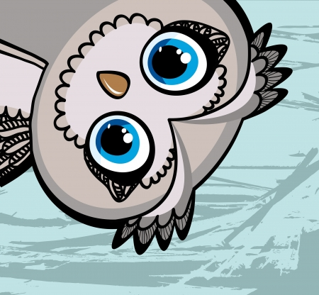 Cartoon funny owl with big eyes on a blue background Illustration