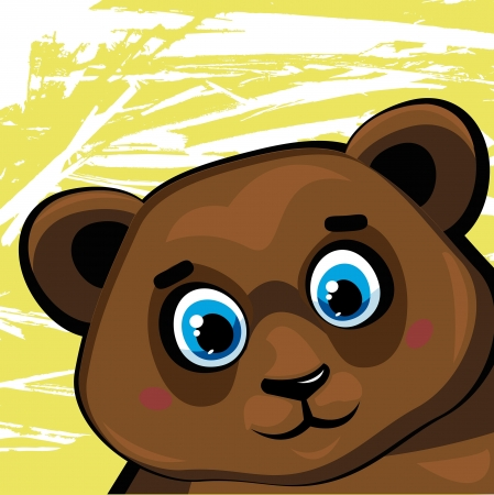 Cartoon funny brown bear on a green background Vector