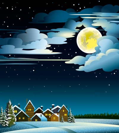Winter landscape with snow houses, forest and fool moon Illustration