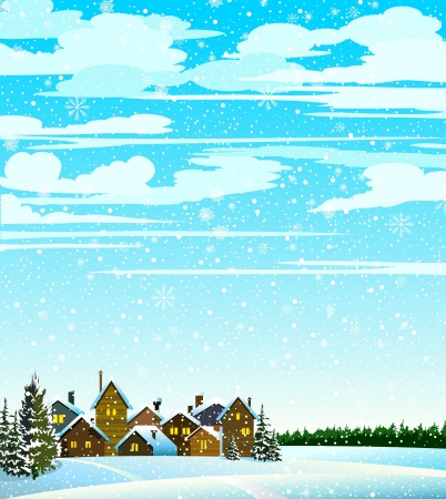 Winter landscape with houses, forest and snowfall Vector