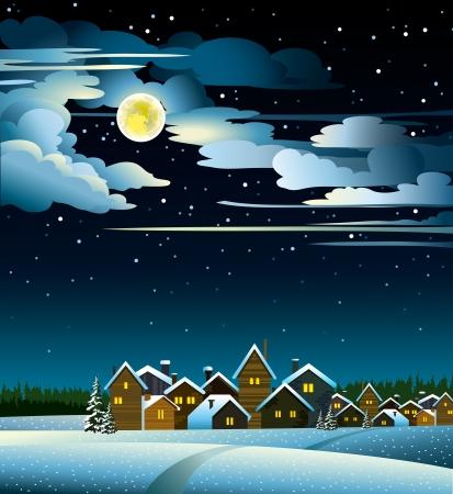 Paisaje de invierno con casas de nieve y la luna llena amarilla