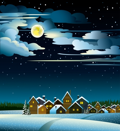 Winter landscape with snow houses and yellow full moon