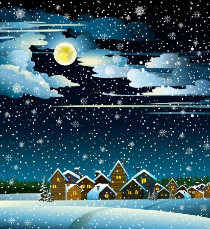 Winter landscape with snow houses, forest and fool moon Vector