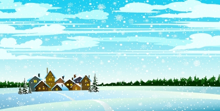 Winter landscape with houses, forest and snowfall Stock Vector - 15286008