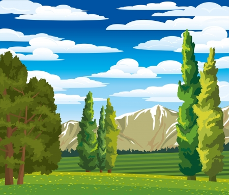 Summer green landscape with cypress, meadow and mountains on a blue cloudy sky Иллюстрация