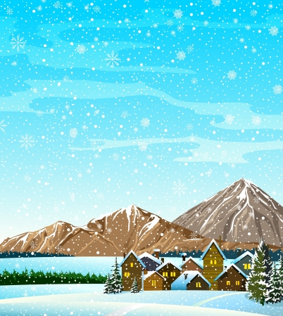 snowfall: Winter landscape with houses, forest, vountains and snowfall
