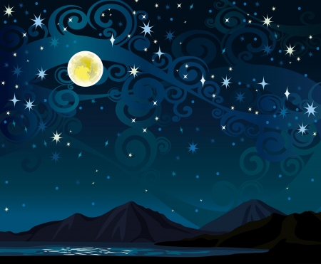 sea star: night starry sky with yellow full moon, mountains and calm lake