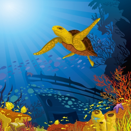 sunken: Colored coral reef with silhouette school of fish and yellow turtle on blue sea background