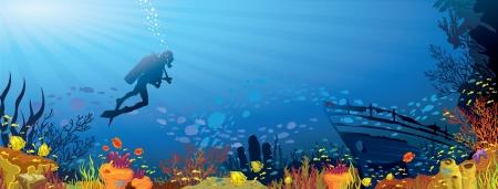 Arrecife de coral con peces de color y la silueta de buzo en el fondo del mar azul Vectores