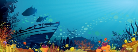 sunken: Colored coral reef with fish, sharks and silhouette of sunken ship on blue sea background Illustration