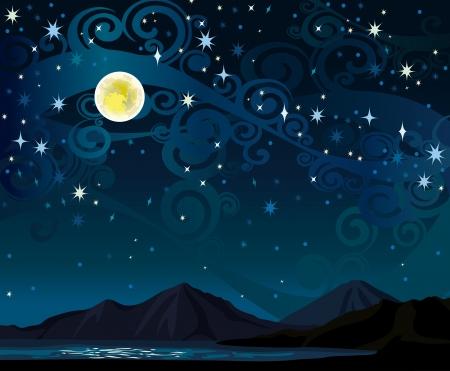 Nacht Sternenhimmel mit gelben Vollmond, Berge und ruhigen See