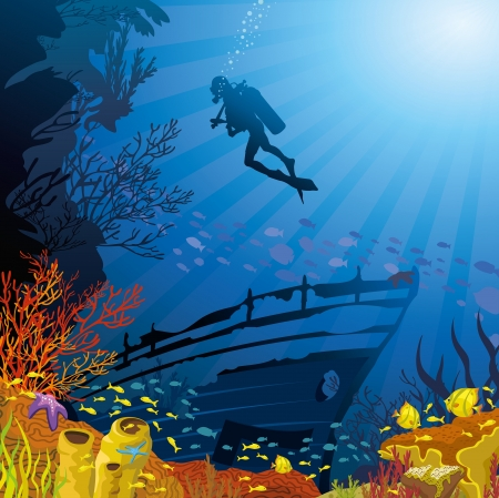 sunken: Colored coral reef with fish and silhouette of diver on blue sea background Illustration