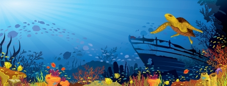 bottom of sea: Colored coral reef with silhouette school of fish and yellow turtle on blue sea background