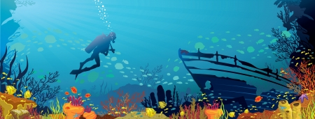 Vector coral reef with fish and silhouette of diver on blue sea background