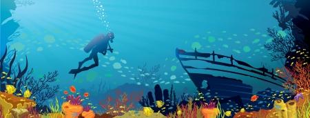 Vector Korallenriff mit Fischen und Silhouette des Tauchers auf blauem Meer Hintergrund