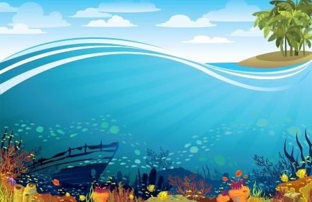 Arrecife coralino con fith y la silueta de barco hundido debajo de la isla con palmeras