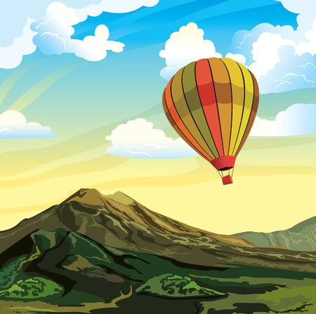 aerostat: Summer landscape with aerostat, mountains and cloudy sky