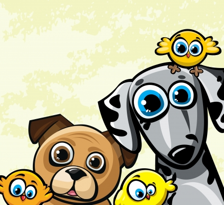 Cartoon funny family with two dog  dalmatians and pugs  and three yellow birds Vector