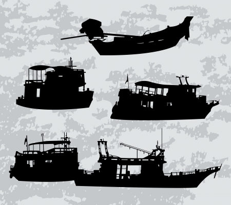 silhuette: Vector black silhuette of boats and ferry
