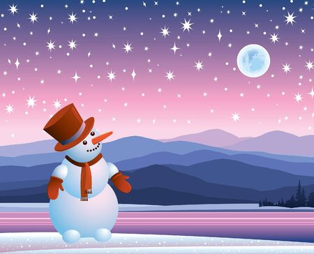 Cartoon happy snowman looking at the starry sky with moon Vector