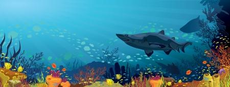 Gekleurde koraalrif met haaien en silhouet van vis op een blauwe zee achtergrond